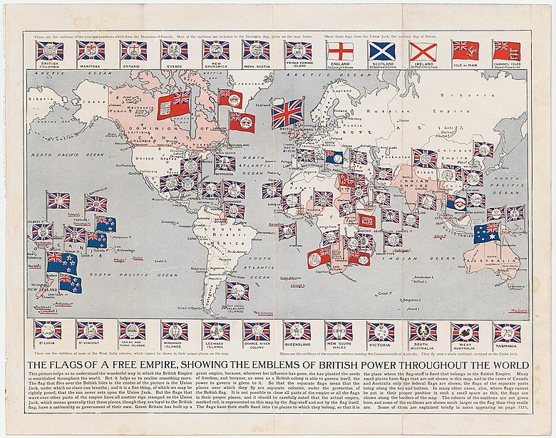 Map of the British Empire (as of 1910) Arthur Mees Flags of A Free Empire 1910 Cornell CUL PJM 1167 01.jpg