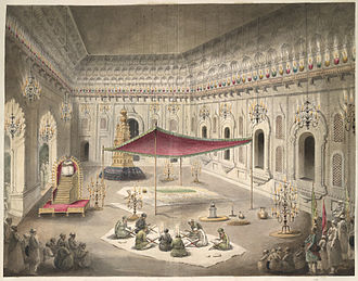 Asaf-ud-Daula - The simple grave of Asaf ud-Daula under a canopy inside the Bara Imambara; a watercolor by Seeta Ram, c.1814–15 (note:Flag of the Mughal Empire raised higher than the Awadh flag)