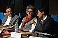 Asish Mazumdar and Sanjay Gopal Sarkar with Jayanta Nath - Inaugural Function - Bengali Wikipedia 10th Anniversary Celebration - Jadavpur University - Kolkata 2015-01-09 2581.JPG