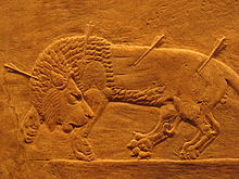 le Lion dans l'art (suite) dans LION 220px-Assyrian_royal_lion_hunt