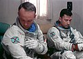 Astronauts John W. Young (right) and Michael Collins (left), prime crew for the Gemini-10 spaceflight.jpg