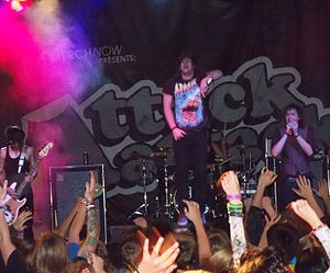 Attack Attack! discography - Attack Attack! performing in 2010. From left to right: John Holgado, Caleb Shomo, Andrew Wetzel and Sean Mackowski.