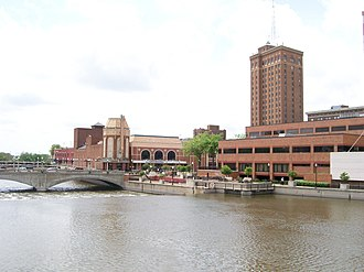 Aurora, Illinois - The Fox River and Galena Boulevard dam, Paramount Theatre, Aurora Riverwalk, Civic Center, and Leland Tower