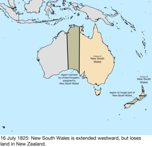Territorial evolution of Australia - Map of the change to the founding colonies of Australia on 16 July 1825
