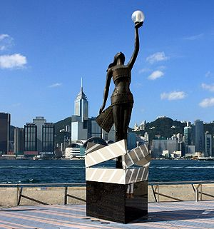 Cinema of Hong Kong - Replica of the Hong Kong Film Awards statuette on the Avenue of Stars in Tsim Sha Tsui, Hong Kong.