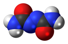 Space-filling model of azodicarbonamide