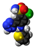 Space-filling model of the azosemide molecule