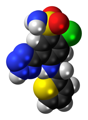 Azosemide - Image: Azosemide molecule spacefill