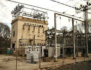 Amtrak's 25 Hz traction power system - Old substation built for the 1915 electrification project at Bryn Mawr, Pennsylvania. Outdoor yard is an addition.