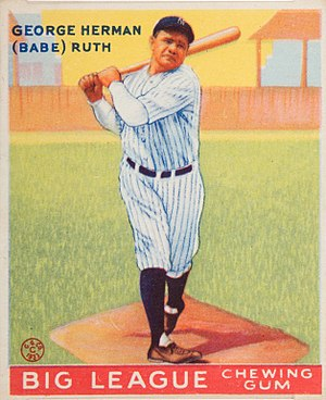 English: 1933 Goudey baseball card of Babe Rut...