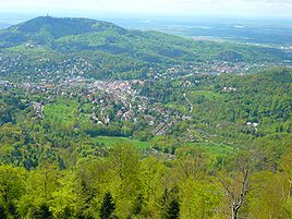 View of Baden-Baden from Mount Merkur.