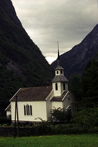 Church of Norway - Bakka kyrkje in Aurland, Sogn, Norway