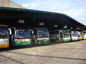 Baliwag Transit, Inc. - Fleet of buses (including sister company's Golden Bee) at Baliwag Transit Bus Terminal (Cubao, Quezon City)