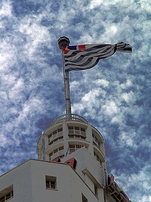 Flag of São Paulo (state) - The flag of São Paulo on the top of edifício Altino Arantes, in São Paulo