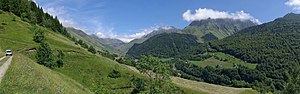 GR 10 (France) -  View from GR 10, near Souriche, looking towards the Col du Tourmalet, valley of Barèges, France.
