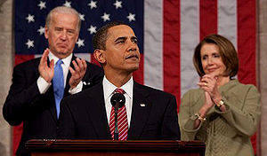 Timeline of the presidency of Barack Obama (2009) - Obama addresses a joint session of Congress, with Vice President Joe Biden and House Speaker Nancy Pelosi.