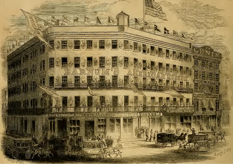 Picture drawn by Chapin, engraved by Avery. Museum located at Ann Street and Broadway, near City Hall Park and Park Row. Gleason's Pictorial Vol. 4 No. 5 (January 29, 1853):72. Drawn by Chapin. Engraved by Avery.