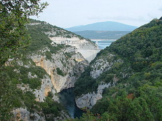 Verdon Gorge - Dam of Sainte-Croix, seen from the Low-Gorges of Baudinard