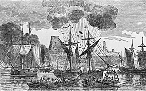 Fort Frontenac - Battle of Fort Frontenac, 1758 (Engraving by J. Walker)