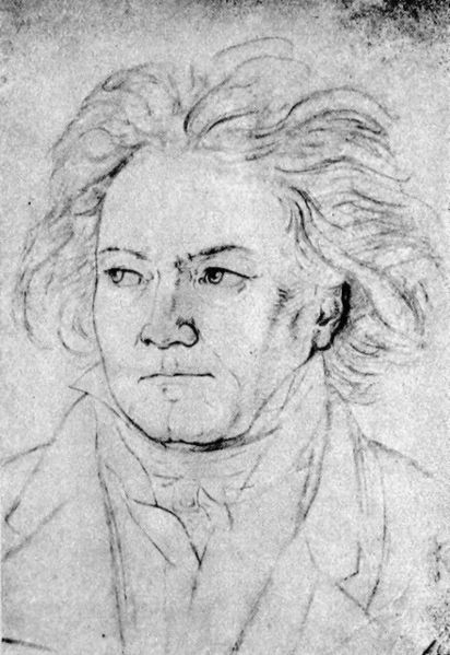 Portrait de Beethoven, dessin d'August Klöber, 1818