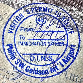 Visa policy of Belize - Belize passport stamp