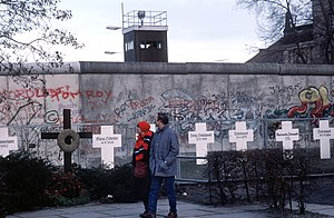 White Crosses - The original memorial with Berlin Wall in the background, 1990