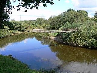 Река Миния. Подвесной мост у д. Дитува
