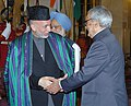 Bhairon Singh Shekhawat shaking hands with the President of Afghanistan, Mr. Hamid Karzai at the presentation of the Indira Gandhi Prize for Peace, Disarmament and Development-2005, in New Delhi on November 19, 2006.jpg