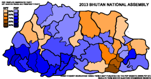Bhutanese National Assembly election, 2013 - Image: Bhutan National Assembly Election Map 2013