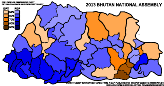 Bhutanese National Assembly election, 2013 - Image: Bhutan National Assembly Election Map 2013