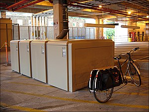 Bicycle locker - Bike lockers in an undercroft.