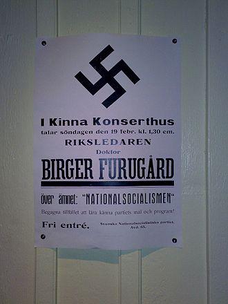 Birger Furugård - Poster of the Swedish National Socialist Party, announcing a speech by Furugård