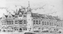 A black-and-white drawing of a range of buildings on a corner.  The central corner building is in three storeys, and has two turrets with a stair tower to the right.  Two buildings extend to its left and four to its right; all these are similar, with arched shop fronts in the lower storey and paired windows in the upper storey.