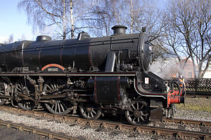Stephenson valve gear - British LMS Stanier Class 5 4-6-0 Locomotive  no. 4767 showing experimental Stephenson valve gear unusually mounted outside the frames