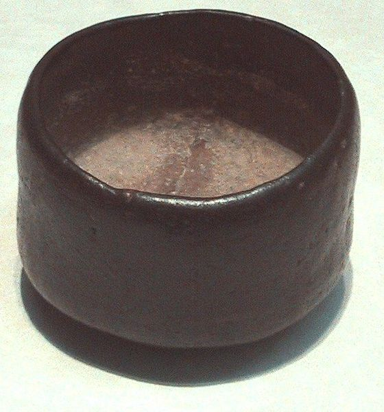A 16th century black Raku-style chawan, used for thick tea (Tokyo National Museum)