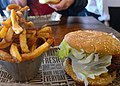 Blazing Pineapple Burger and fries (22006944400).jpg