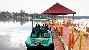 Geography of Kollam - View of Ashtamudi Lake from Adventure Park boat jetty in Asramam