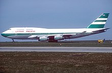 The Cathay Pacific Boeing 747-400 VR-HOR in the Green lettuce livery with Union Flag taxing at Paris Charles de Gaulle International Airport (CDG / LFPG) in May 1993. This was prior to the 1997 handover.