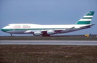 Cathay Pacific - A Cathay Pacific Boeing 747-400 (VR-HOR) in the green lettuce livery with Union Flag taxing at Paris Charles de Gaulle International Airport (CDG / LFPG) in May 1993. This was prior to the 1997 handover.
