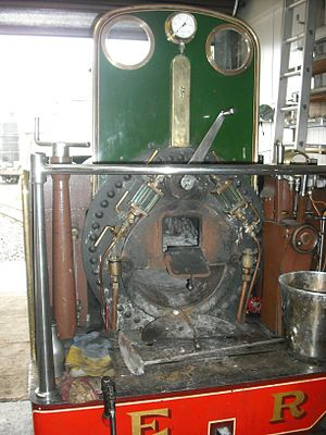 Perrygrove Railway - Backhead of Ursula and the Heywood launch-type boiler