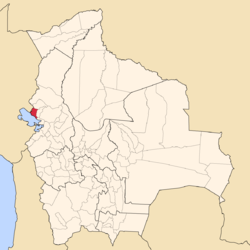 Location of Eliodoro Camacho Province within Bolivia