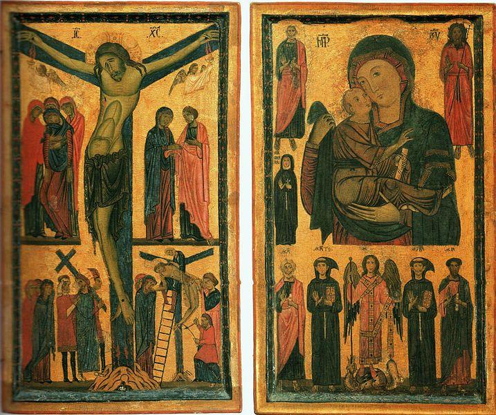 File:Bonaventura Berlinghieri. Crusifixion. Madonna and Child with Saints. Diptych. c. 1255. 103x123cm. Uffizi, Florence..jpg