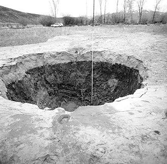 1983 Borah Peak earthquake - Image: Borah Peak earthquake artesian fountain 1983