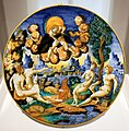 Bottega di guido de merlino, piatto con ratto di ganimede, urbino 1540-50 ca.jpg