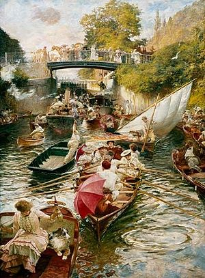 Boulter's Lock - Boulter's Lock, Sunday Afternoon by Edward John Gregory, (Lady Lever Art Gallery)