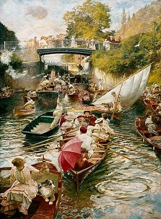 Skiff - Boulter's Lock, Sunday Afternoon by Edward John Gregory shows skiffs among other craft coming out of the lock