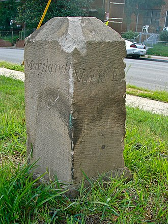Boundary markers of the original District of Columbia - Image: Boundary Stone (District of Columbia) SE 6 (view from north)
