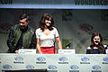 Brad Peyton, Carla Gugino & Alexandra Daddario (16869797078).jpg