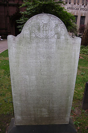 William Bradford (Colonial printer) - Grave of William Bradford in Trinity Church New York City