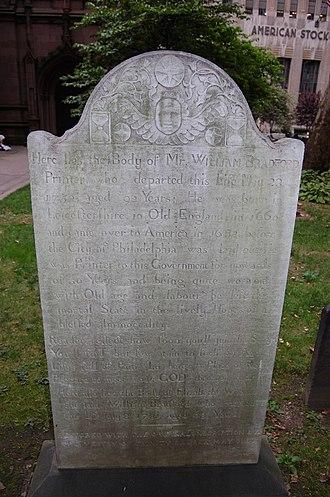 William Bradford (Colonial printer) - Grave of William Bradford in Trinity Church New York City
